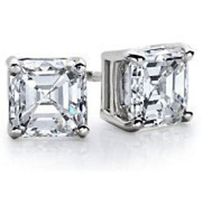 1.75 ctw Princess cut Diamond Stud Earrings G-H, SI2