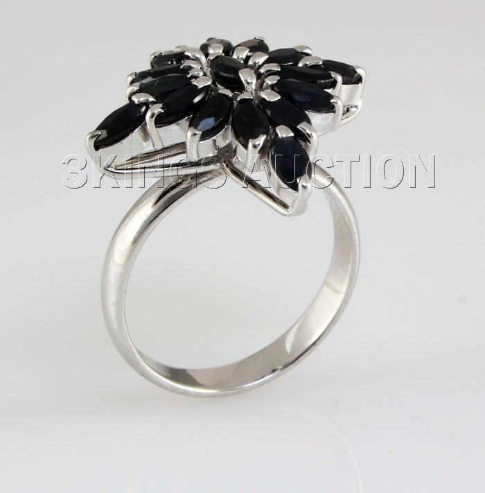 Natural Sapphire 25.96CTW Marquise Cluster Ring