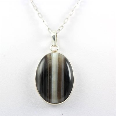 45.ctw Stripped Onyx Silver Pendant