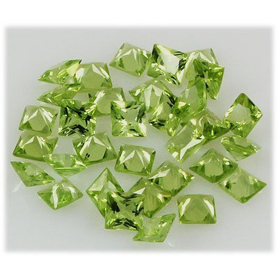 Peridot 10.66 ctw Loose Gemstone 4x4mm Princess Cut
