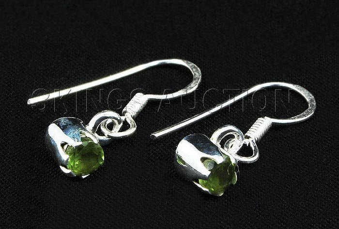 0.60CT Peridot Bezel Design 0.925 Hook Earring 1.56g