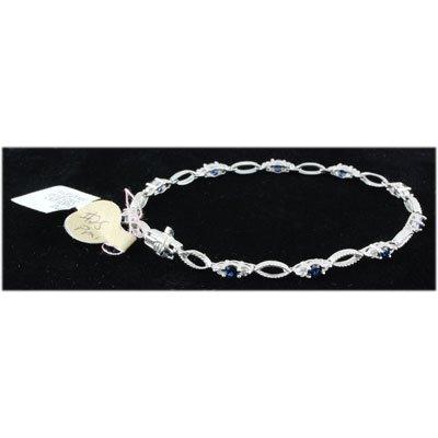 Genuine 3.60ctw Sapphire Diamond Bracelet 14kt W/G 6.5g