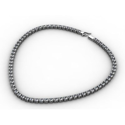 Certified 17.50ct Round Brilliant Necklace H,SI 14kt WG