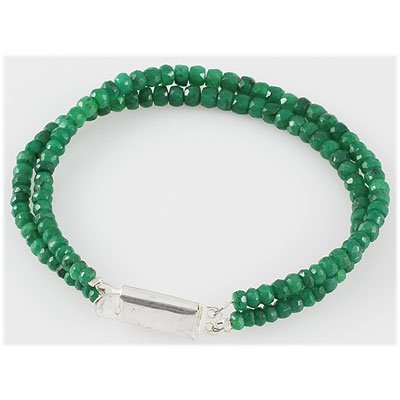 74.34ct Natural 2 Row Emerald Micro Faceted Bracelet