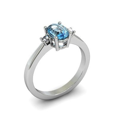 Aqua Marine 0.40 ctw Diamond Ring 14kt White Gold