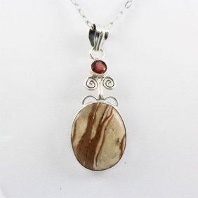 40.5ctw Jasper & Garnet Silver Pendant