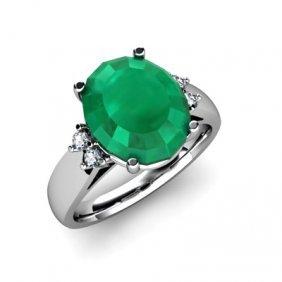 Emerald 5.00 ctw & Diamond Ring 14kt White Gold
