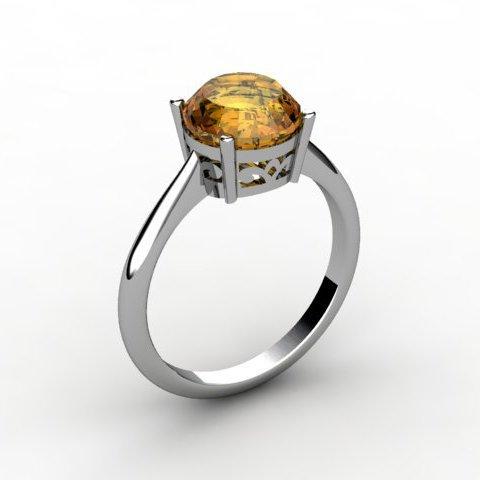 Citrine 1.80 ctw Ring 14kt White Gold