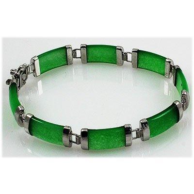 11.45g Apple Green Jade Sterling Silver Bracelet