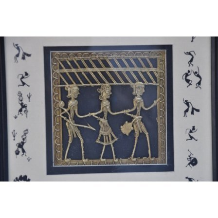 Brass Dokra Art Plate w/ 2in.Outer Acrylic size 10in.x1