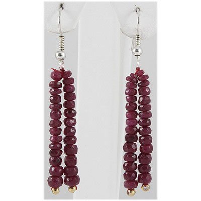 26.75ct 2 Row Faceted Ruby Silver Hook Earring