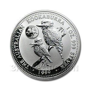 Australian Kookaburra 1 oz. Silver 1999 - Delaware Quar