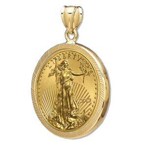 2012 1/4 oz Gold Eagle Pendant (Diamond-Prong Bezel) 14