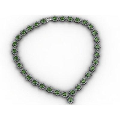 Tourmaline 38.94 ctw Diamond Necklace 14kt White Gold