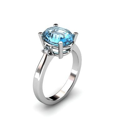 Topaz 3.50 ctw Diamond Ring 14kt White Gold
