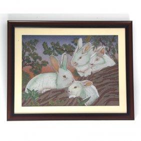 "30 1/2"" X 24 1/2"" Playful Rabbits Gemstone Painting"