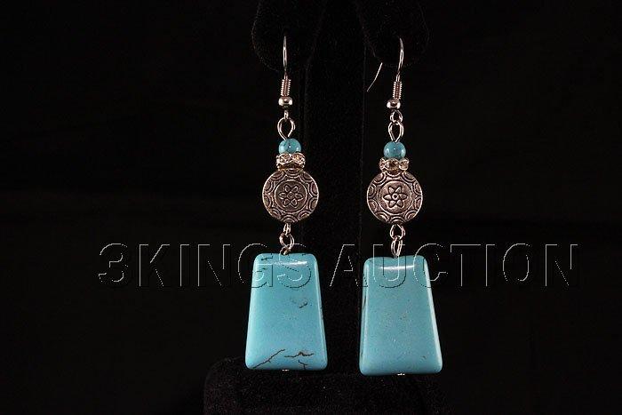 59.77ctw Elegant Dangling Turquoise Silver Earring