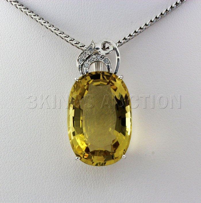 32.16CTW Big Stone Yellow Topaz Silver Pendant