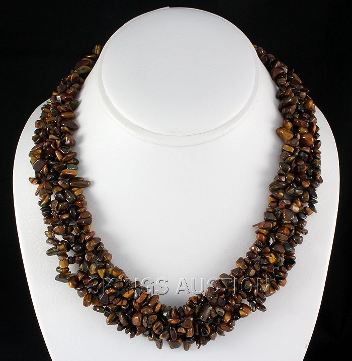 """708CTW 18"""" TIGER EYE CHIPPED STONE NECKLACE METAL LOCK"""