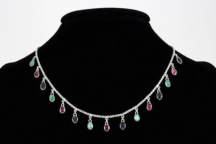 Multi-color 8.60ctw Bezel Dangles Silver Necklace 7.73g