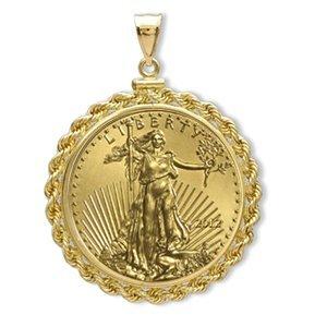 2012 1 oz Gold Eagle Pendant (Rope-ScrewTop Bezel) 14KT
