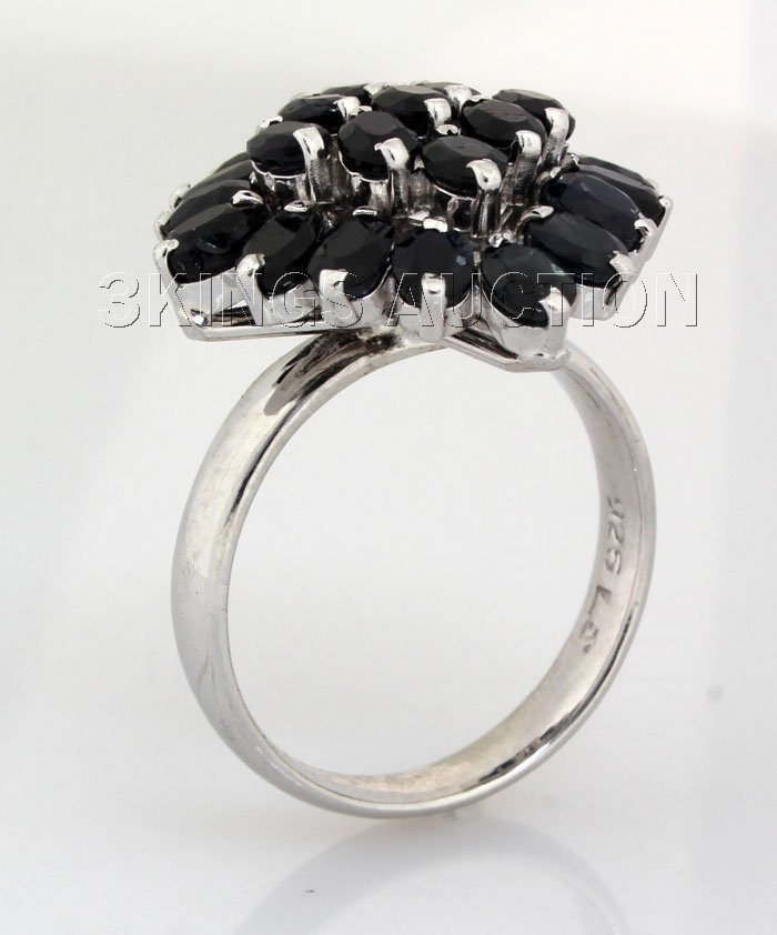 Cluster Sapphire 32.73CTW Sterling Silver Ring