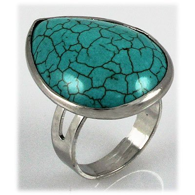 Natural 33.50ctw Pear Shape Turquoise Silver Ring