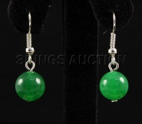 NATURAL 15.30CTW ROUND JADE SILVER HOOK EARRING