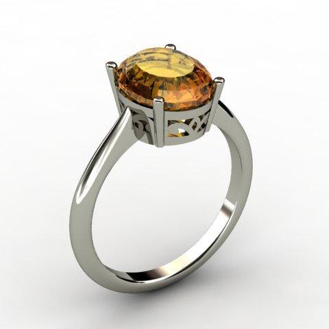 Citrine 2.40 ctw Ring 14kt White Gold