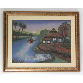 """30 1/2"""" x 24 1/2"""" A House in the Lake Gemstone Painting"""