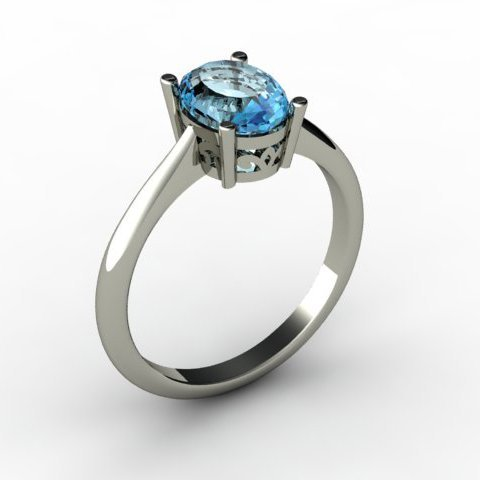 Aqua Marine 1.10 ctw Ring 14kt White Gold