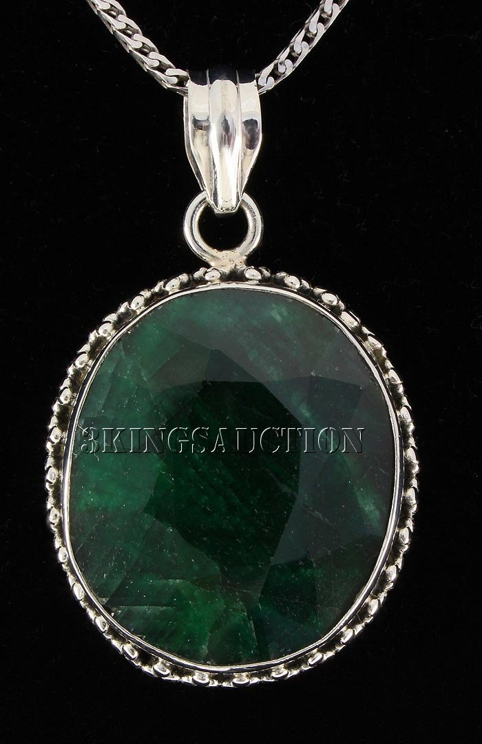 EMERALD BERYL 61.06CTW STERLING SILVER PENDANT