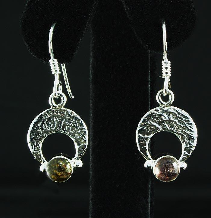 Natural Tourmaline 12.39ctw Crescent Design .925 Earrin