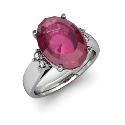 Ruby 7.25 ctw& Diamond Ring 14kt White Gold