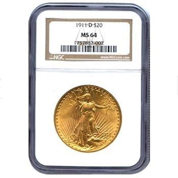 Certified $20 St Gaudens MS64 (Dates Our Choice)