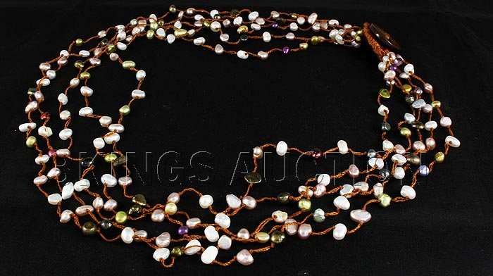 123.71CTW Multi Color Thread Freshwater Pearl Necklace