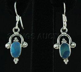 Opal Doublet 12.15ctw Cute Design .925 Hook Earring