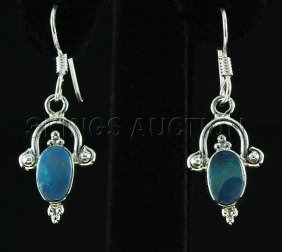 Opal Doublet 12.15ctw Cute Design .925 Hook Earring