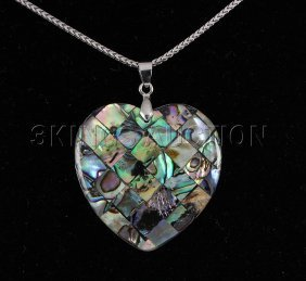 Natural 52.00ctw Mother Of Pearl Silver Pendant
