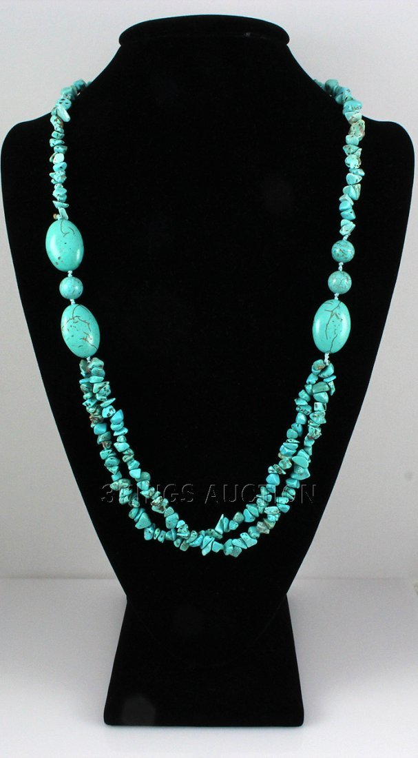 Natural 419.21ctw Turquoise Sterling Silver Necklace