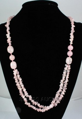 362.68CTW CHUNKY BABY PINK CORALS STATEMENT NECKLACE