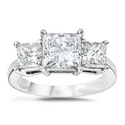 1.50 ctw Princess cut Three Stone Diamond Ring, G-H,SI2