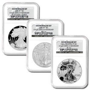2006-W (3 Coin) Silver Eagle Set MS-70 & PF-70 NGC Regi