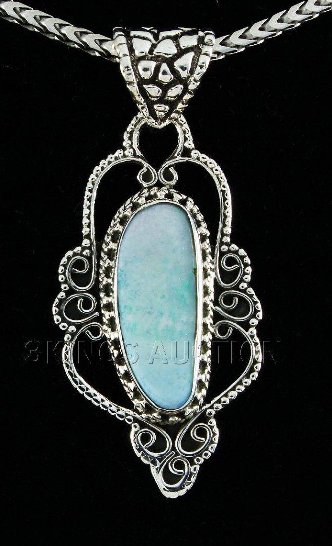Opal Doublet 16.56ctw Antique Design Silver Pendant