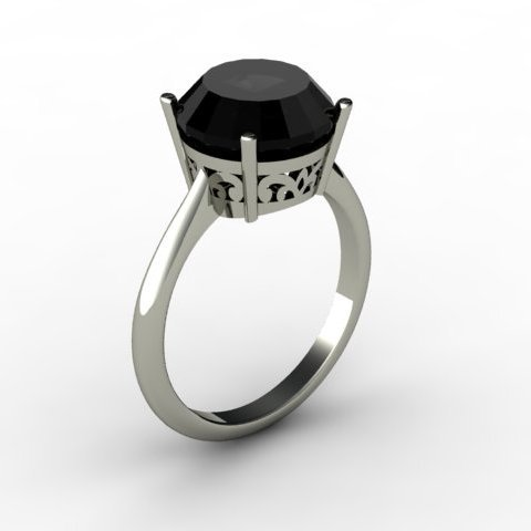 Black Diamond 4.00 ctw Ring 14kt White Gold
