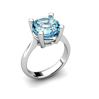 Aqua Marine 3.50ctw Ring 14kt White Gold