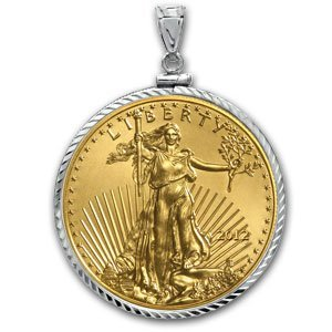 2012 1 oz Gold Eagle White Gold Pendant (Diamond-ScrewT