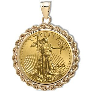 2012 1/4 oz Gold Eagle Pendant (Rope-Prong Bezel) 14KT