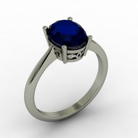 Sapphire 2.20 ctw Ring 14kt White Gold