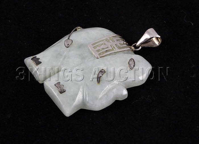 Genuine 31.57ctw Elephant LightGreen JadePendant